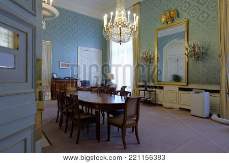 PARIS, FRANCE – SEPTEMBER 14, 2013: Office of vice-president of French Senate in the Luxembourg Palace. The palace was originally built in XVII century, and since 1958 it houses the French Senate of t