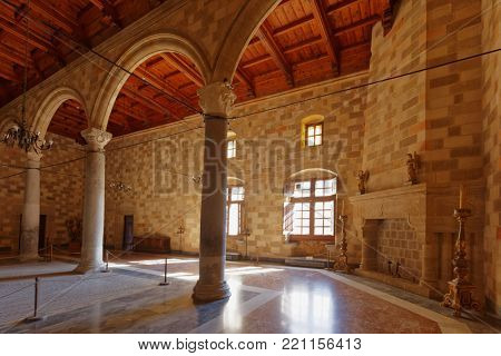 RHODES, GREECE – OCTOBER 9, 2017: Interior of the Palace of the Grand Master of the Knights of Rhodes. The palace was built in XIV century, and since 1988 is listed as UNESCO World Heritage