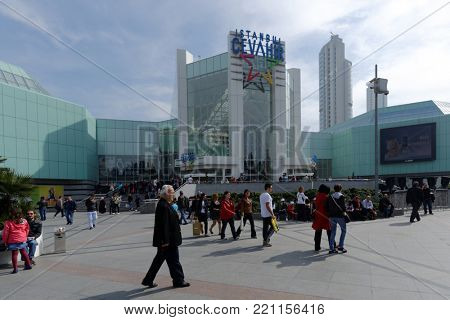 ISTANBUL, TURKEY - MARCH 23, 2014: People in front of the shopping mall Istanbul Cevahir. Opened on 15 October 2005, Istanbul Cevahir was the largest shopping mall in Europe