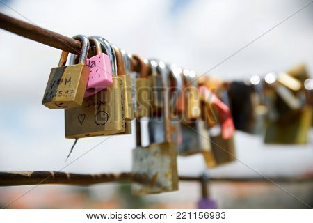 Love padlocks on a fence, Porto, Portugal.