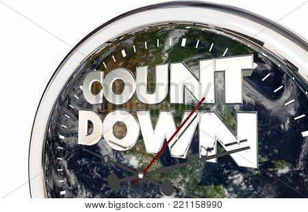 Countdown Earth Clock Environmental Disaster Planet 3d Illustration - Elements of this image furnished by NASA