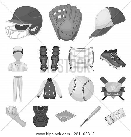 Baseball and attributes monochrome icons in set collection for design.Baseball player and equipment vector symbol stock  illustration.