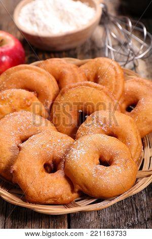 apple donut on wood