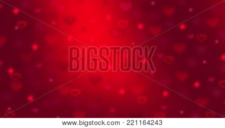 Valentine Love Red Background. Abstract Hearts Holiday Backdrop. St. Valentine's Day abstract backdrop. Wide angle format banner