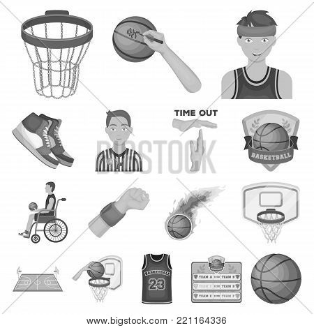 Basketball and attributes monochrome icons in set collection for design.Basketball player and equipment vector symbol stock  illustration.