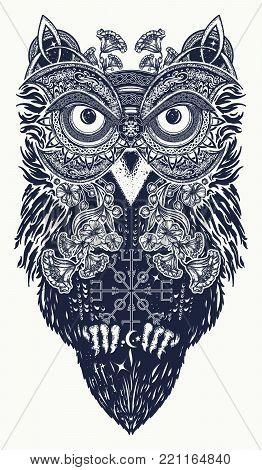 Owl tattoo art. Owl in ethnic celtic style t-shirt design