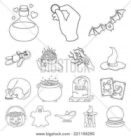 outline and white magic outline icons in set collection for design. Attributes and sorceress accessories vector symbol stock  illustration.