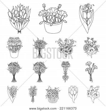 A bouquet of fresh flowers outline icons in set collection for design. Various bouquets vector symbol stock illustration.