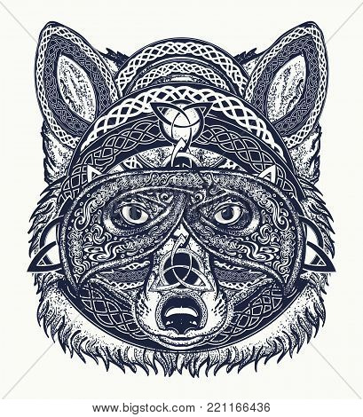 Fox tattoo art. Fox viking in the celtic style, tattoo art. Wolf t-shirt design art animals. North tattoo. Animals in ethnic style
