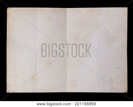 Horizontal image of blank space an old paper with yellow stains and creases on black background with clipping path