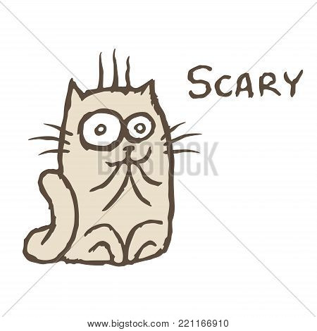Shocked grey cat. Vector illustration. Cheerful cartoon pet