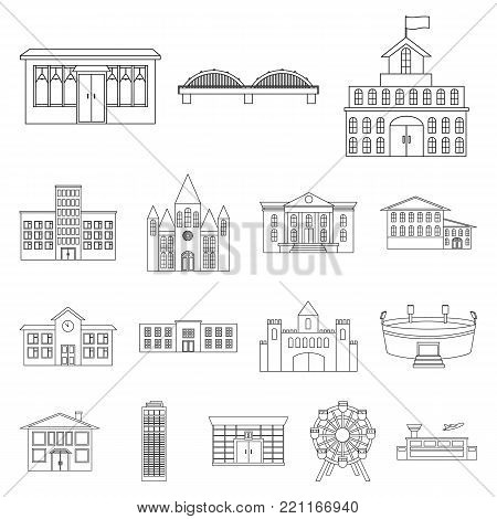 Building repair outline icons in set collection for design.Building material and tools vector symbol stock  illustration.