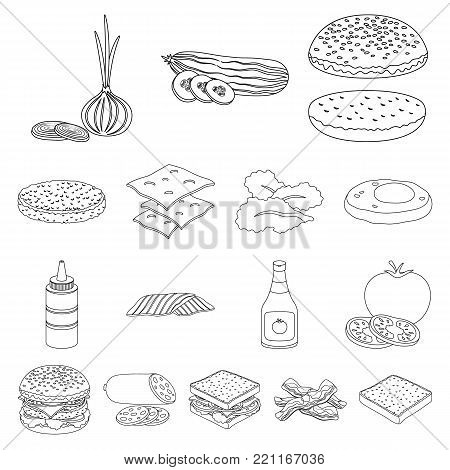 Burger and ingredients outline icons in set collection for design. Burger cooking vector symbol stock  illustration.