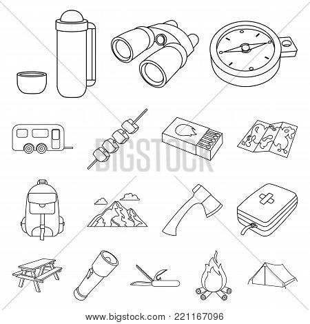 Rest in the camping outline icons in set collection for design. Camping and equipment vector symbol stock  illustration.
