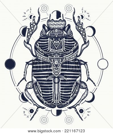Egyptian scarab symbol of pharaoh, gods Ra, sun. Scarab, tattoo, ancient Egypt, mythology t-shirt design, tattoo of ancient Egypt