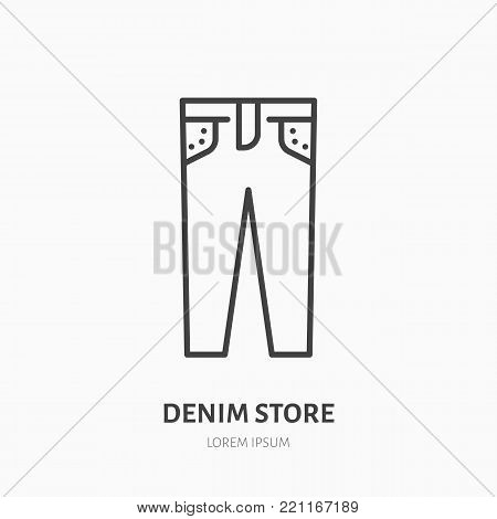 Jeans store flat line icon. Women apparel, denim pants sign. Thin linear logo for clothing shop.