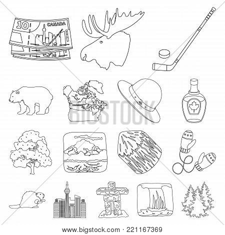 Country Canada outline icons in set collection for design. Canada and landmark vector symbol stock  illustration.