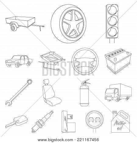 Car, vehicle outline icons in set collection for design. Car and equipment vector symbol stock  illustration.