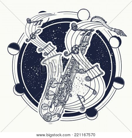 Saxophone And Music Notes Tattoo Art And T-shirt Design. Notes Take Off From A Saxophone, Musical Ar
