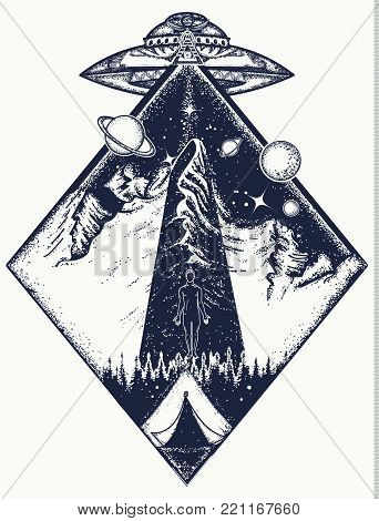 UFO tattoo art and t-shirt design. Invasion of aliens. Aliens kidnap human. Mystical symbol paranormal phenomena,  first contact, UFO kidnapped  tourist from tent in mountains tattoo