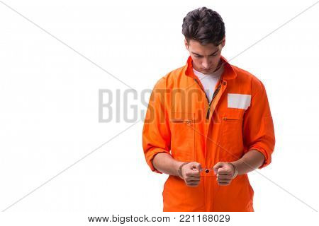 Handcuffed handsome businessman isolated on white background