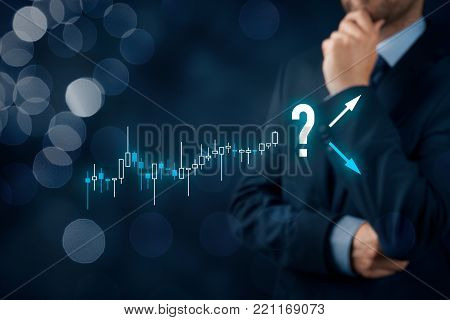 Investor and trader concept. Investor with tradeview graph make decision - sell or buy?