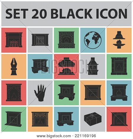 Different kinds of fireplaces black icons in set collection for design.Fireplaces construction vector symbol stock  illustration.