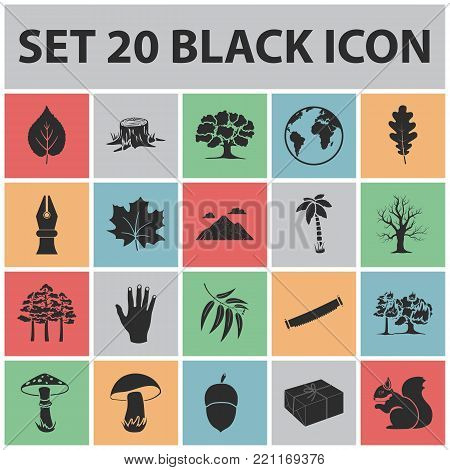 Forest and nature black icons in set collection for design. Forest life vector symbol stock  illustration.