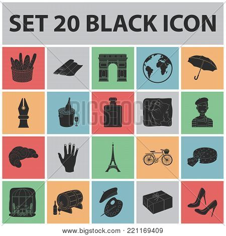 Country France black icons in set collection for design. France and landmark vector symbol stock  illustration.