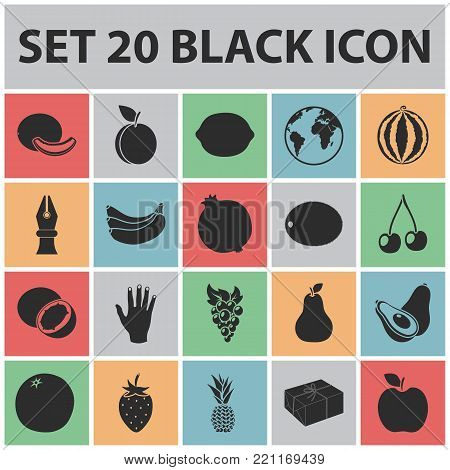 Different fruits black icons in set collection for design. Fruits and vitamins vector symbol stock  illustration.
