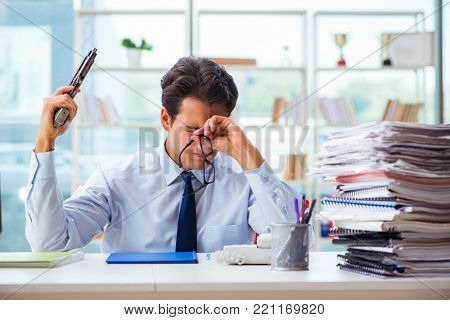 Angry businessman with gun thinking of committing suicide poster