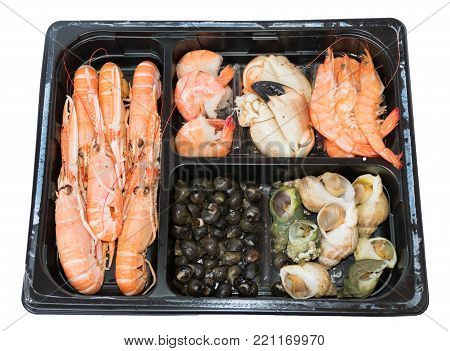 Tray of steamed mix seafood in black square tray with rose langoustine, shrimp, crab's claw, shell and whelk , all ready for eat for lunch or dinner in party, isolated white backgrouand and clipping path
