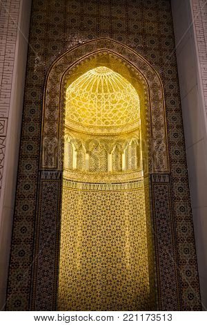 Mihrab of Kuwait Grand Mosque interior 07 January 2015 Kuwait-city, Kuwait