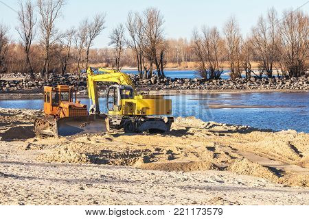 Excavator Or Digger And Excavators Working On Ground. Industrial Machinery At Working Construction B