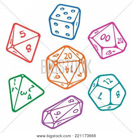 Vector icon set of dice for fantasy dnd and rpg tabletop games. Board game polyhedral dices with different sides: d4, d6, d8, d10, d12, d20 isolated on white background