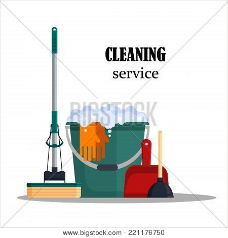 Cleaning service. Colorful set house cleaning tools with bucket, mop, glovers, scoop, toilet plunger isolated on white background. Detergent and disinfectant products, household equipment - flat vector illustration.