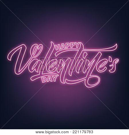 Valentines Day. Valentines Day neon script lettering. Valentine's Day neon sign