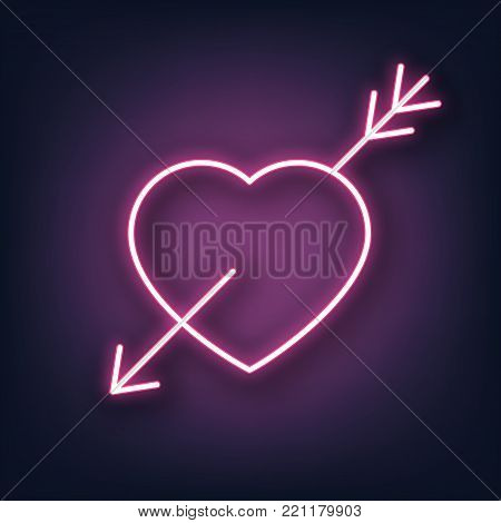 Valentines Day. Heart and arrow neon sign. Valentine's Day neon sign