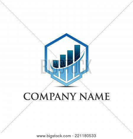 Business finance logo template - vector concept illustration. Economic infographic sign. Arrows and infograph bar. Growth graphic symbol. Creative design element.