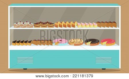 Refrigerator With Shelves And Cakes On It. Various Pastries And Cakes In Showcase Refrigerator. Vect