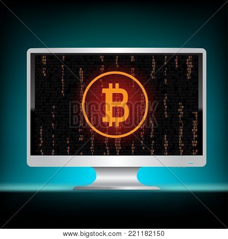 Crypto currency bitcoin code mining display on white monitor on dark blue background. Black screen with golden crypto coin. E-commerce business financial technology. Virtual electronic money network