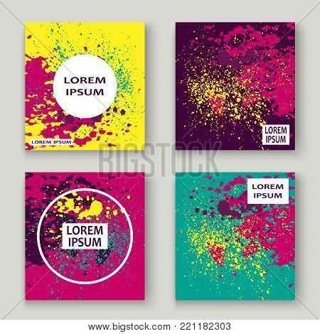 Neon Explosion Paint Splatter Artistic Cover Frame Design. Decorative Dust Splash Spray Texture Viol