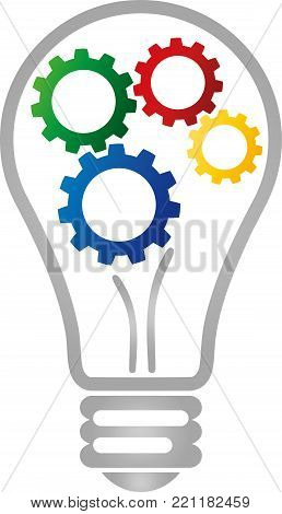 Lamp and gears, colored, idea and electrician logo