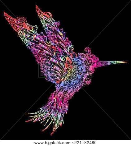 Color humming-bird t-shirt design. Symbol of freedom, dream, travel, imagination. Beautiful flying humming in ethnic style, bird modern art