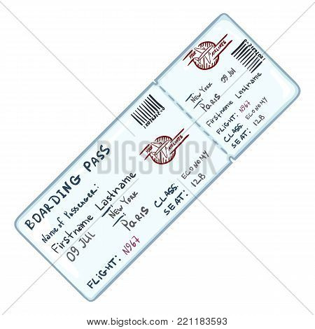 Vector Set Of Cartoon Tickets For Plane, Bus, Tram And Trolley Bus