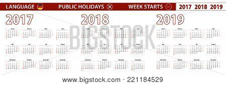 2017, 2018, 2019 year vector calendar in German language, week starts on Sunday.