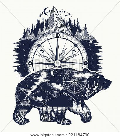Bear and mountains tattoo art. Bear travel symbol, adventure tourism. Mountain, forest, night sky. Magic tribal bear double exposure animals