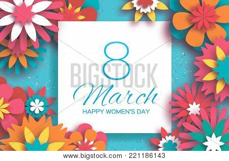 Colorful 8 March. Happy Women's Day. Mother's Day. Paper cut Floral Greeting card. Origami flower. Text. Square frame. Spring blossom. Seasonal holiday on sky blue. Modern paper decoration. Vector illustration.