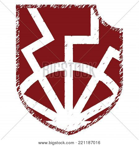 The ancient European esoteric sign - the black sun and Heraldic shield, isolated on white, vector illustration