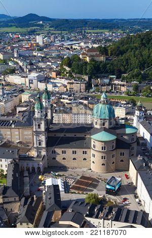 Panorama of the historic city of Salzburg, August 9, 2017 in Salzburg, Austria